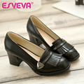 ESVEVA vintage style black women shoes slip on thick heel round toe women pumps tassel ladies casual shoes big size 11 12 Red