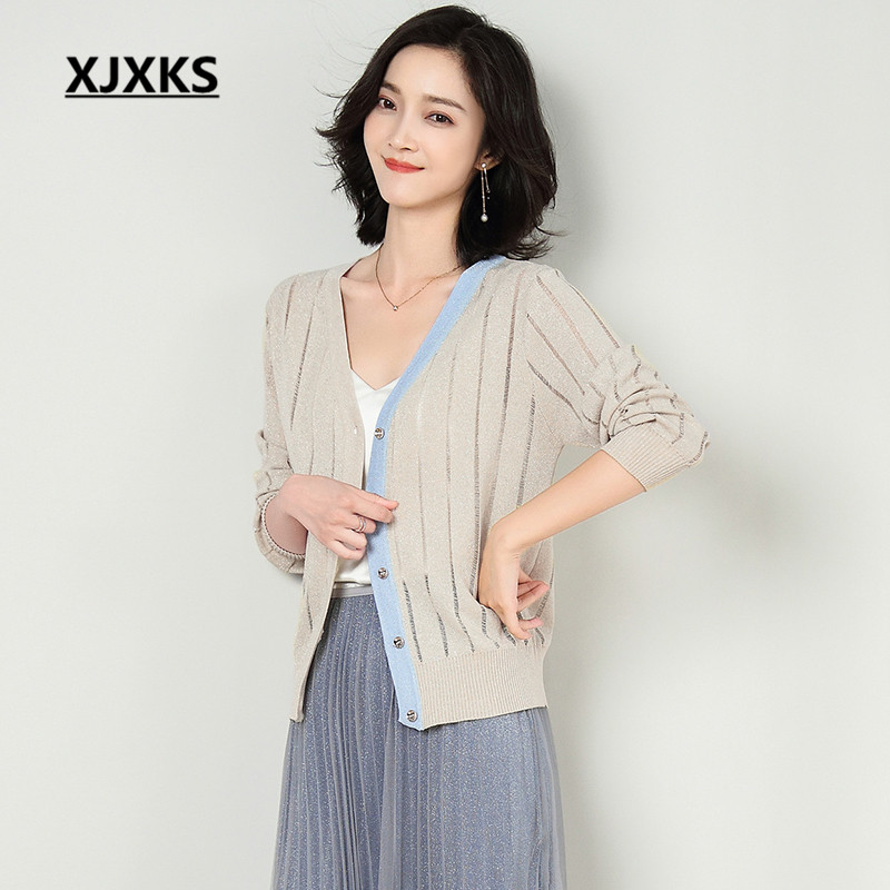 XJXKS 2019 spring autumn new fashion V neck women s cardigan high quality comfortable linen knitted