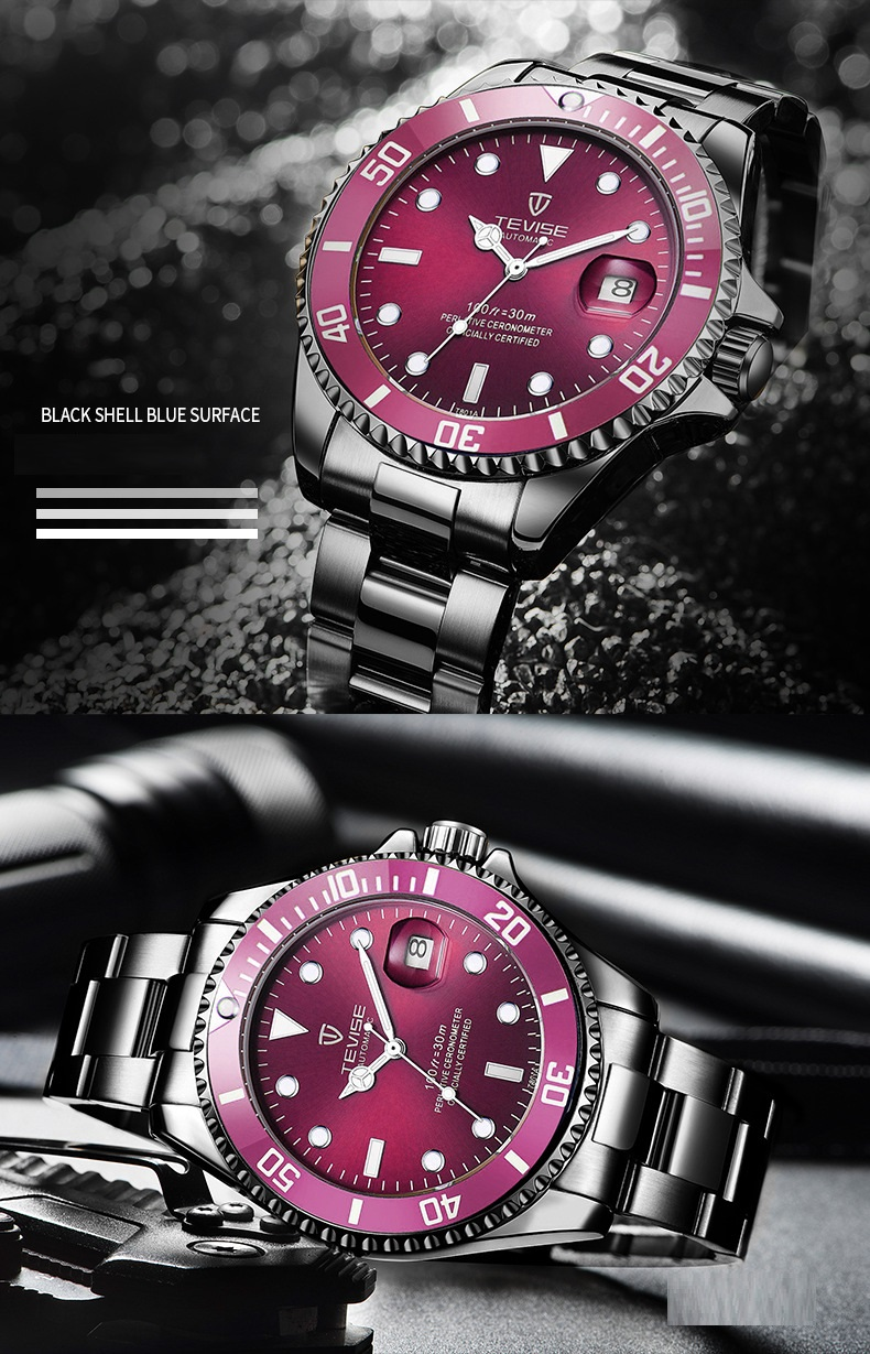1TEVISE Red Watch Men Creative Luminous Watches Date Waterproof Clock Man Blue Automatic Watch Purple Mechanical Wristwatches (4)