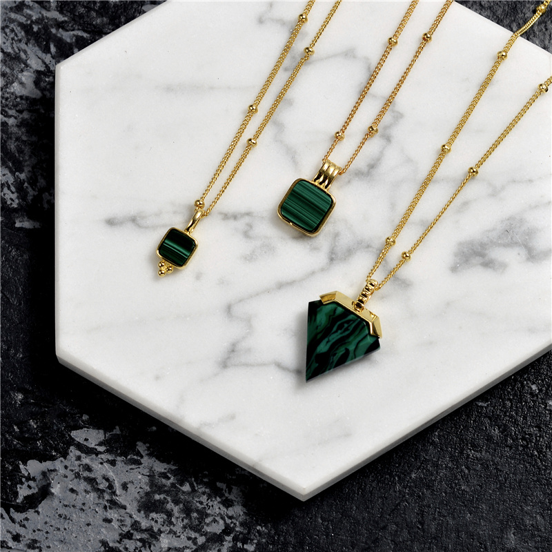 Europe and the US 925 sterling silver Retro net red neck chain malachite clavicle chain necklace