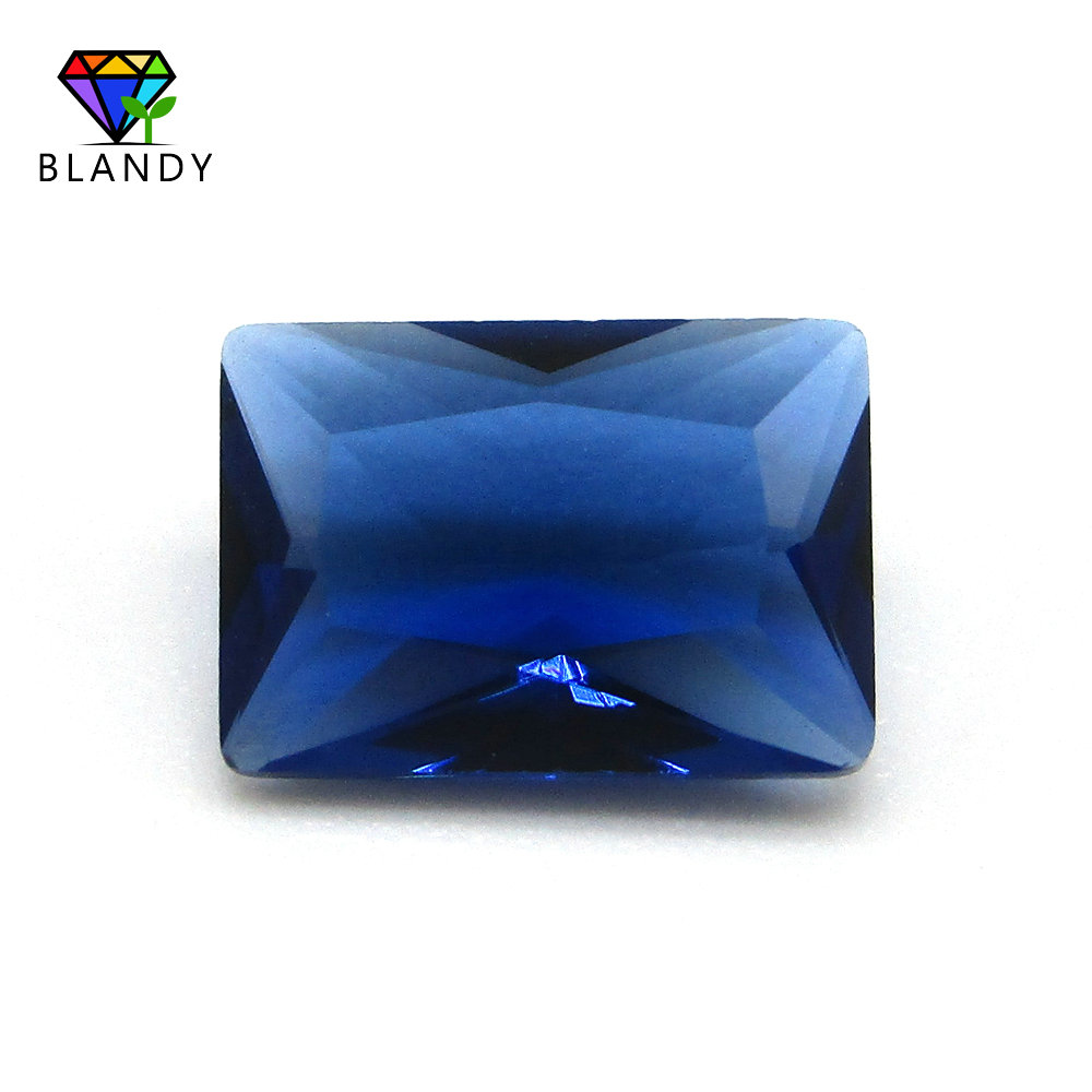 US $6 84 5% OFF|Factory Price 2x3~13x18mm Rectangle Shape Glass Gems Stone  Blue Color Loose Synthetic Glass Gems Beads For Jewelry DIY Stones-in Beads