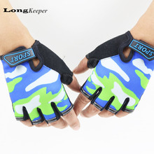 LongKeeper Gloves For Kids Semi finger Children Mittens Sky Pattern Boys Girls fingerless Gloves for 5
