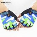 LongKeeper Luvas Esportivas Para Crianças Semi-dedo Luvas Crianças Céu Padrão Meninos Meninas Luvas sem dedos para o 5-13 anos Garoto G109