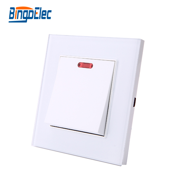 UK standard Toughened glass 1gang 20A home switch using for water heater,AC250V, suck uk