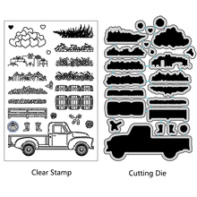 AZSG Village Style Garden Stuff Truck Cutting Dies Clear StampsFor DIY Scrapbooking/Card Making Decorative Silicone Stamp Crafts