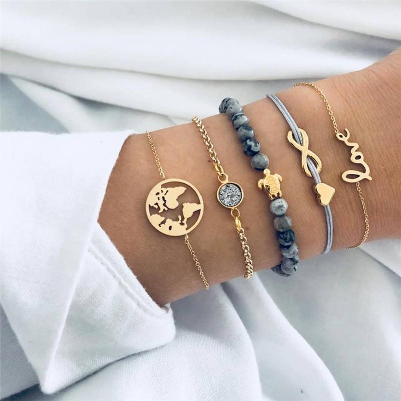 Aggressiv Bohemian Schildkröte Charme Armbänder Armreifen Für Frauen Mode Gold Farbe Strang Armbänder Sets Schmuck Party Karte Armbänder Set