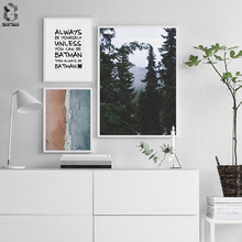Mountains Landscape Life Quote Canvas Art Posters Prints Motivational Sea Painting Nordic Wall Picture for Room Decor