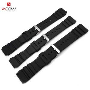 AOOW Rubber Watchbands for Casio g-shock 18 20 22mm Men Black Sport Diving Watch Strap Band Metal Buckle Watch Accessories(China)