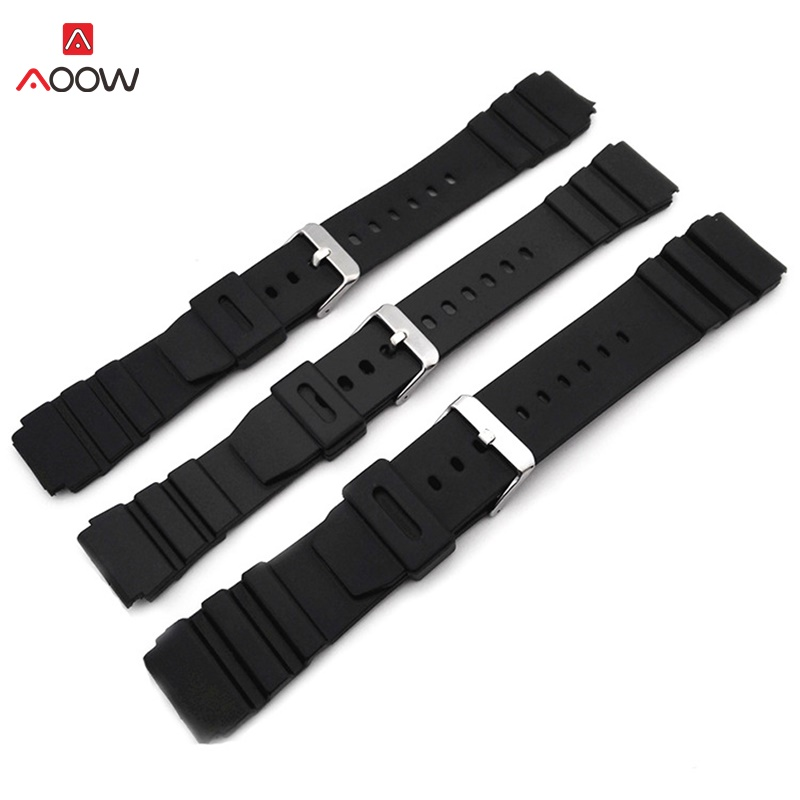 AOOW Rubber Watchbands for Casio g-shock 18 20 22mm Men Black Sport Diving Watch Strap Band Metal Buckle Watch Accessories