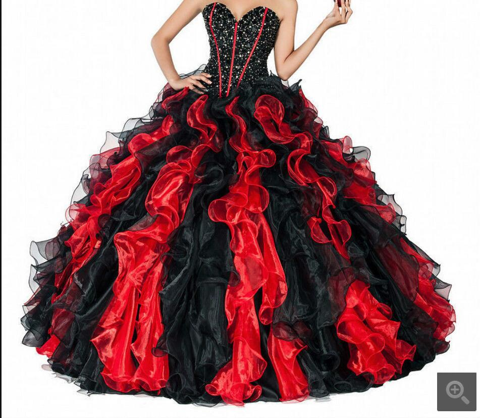 Real picture ball gown black red beading ruffled prom dress gothic strapless sweetheart neck sweet 16 prom dresses formal gowns
