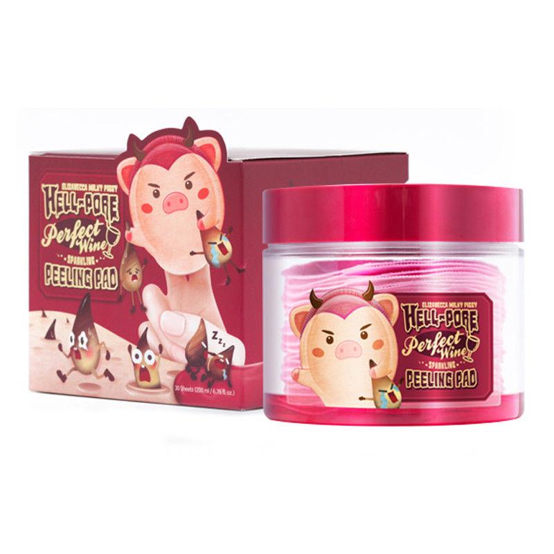 ELIZAVECCA Milky Piggy Hell-Pore Perfect Wine Sparkling Peeling Pad 30pcs Face Mask Skin Care Facial Peeling Mask