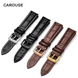 Carouse Watch Bracelet Belt Black Watchbands Genuine Leather Watch Strap Band 18mm 20mm 22mm 24mm watch accessories wristband