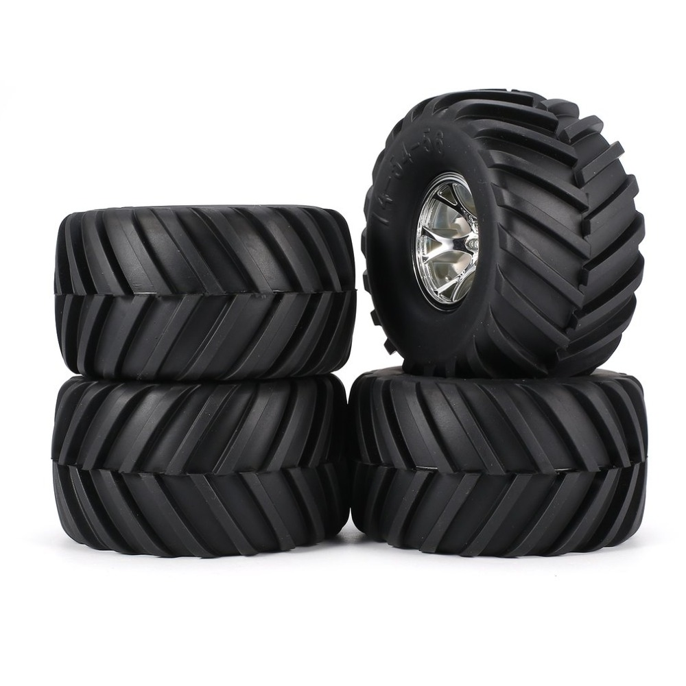 AUSTAR 4pcs AX-3003 130mm Rim Rubber Tyre Tire Wheel Plastic Hub for 1/10 RC Big Feet Model HSP HPI Beadlock Spare Parts RC Tire universal replacement plastic tire w wheel rim hub for 1 10 on road model cars black 4pcs