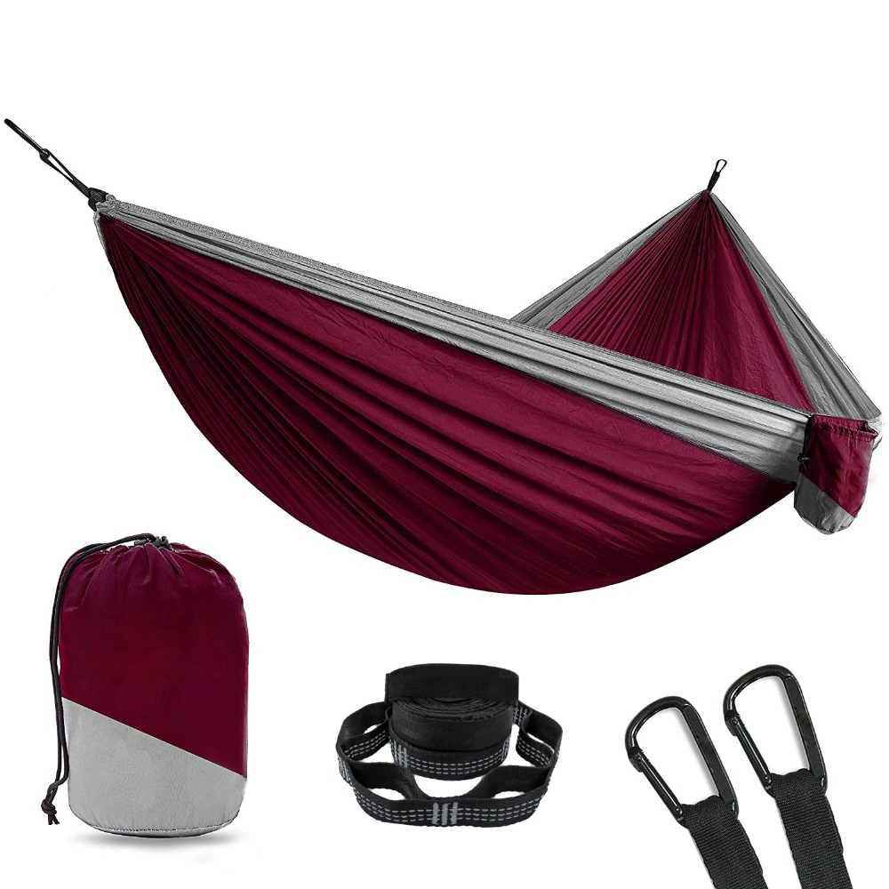 Double garden swing hanging chair 2 person Hammock Outdoor Ultralight camping sleeping bed parachute nylon portable indoor hamac