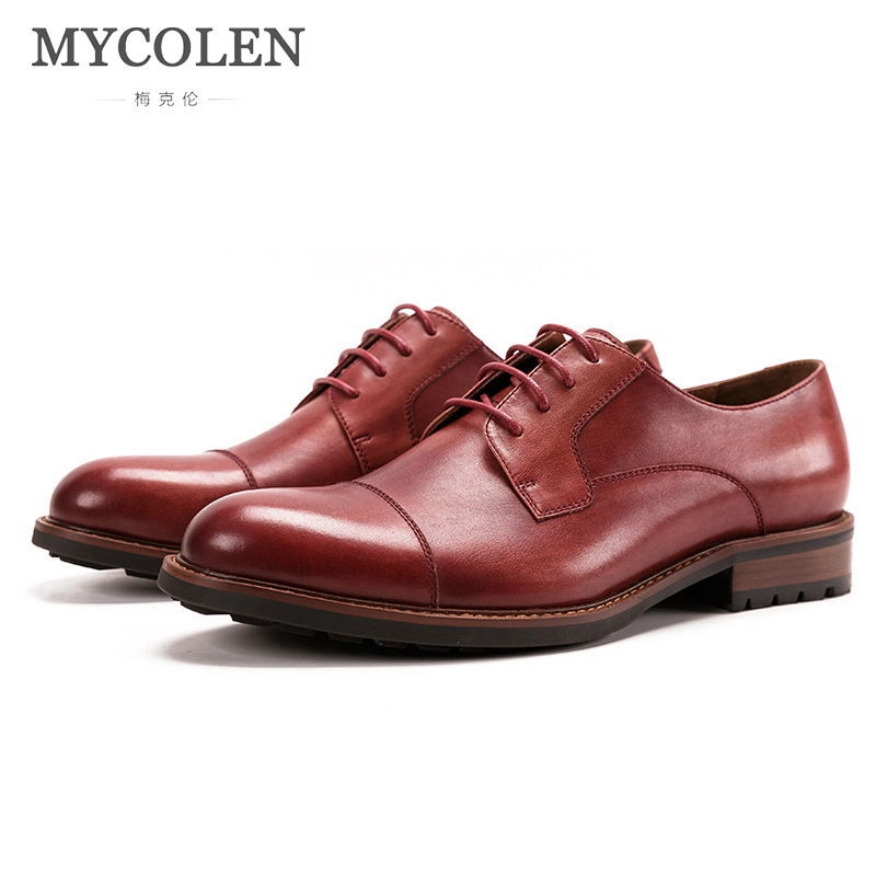 MYCOLEN Men Dress Shoes Luxury Brand Top Fashion Formal Business Work Leather Round Toe For Flats Genuine Leather Men Shoes все цены