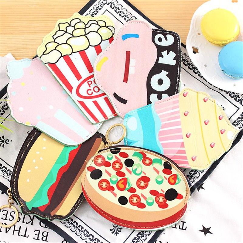 Coloffice Korea Creative Hamburger Cake Food Coin Purse Portable Packet Bag Cute Cartoon Key Purse Students Gift Card Holder 1pc Card Holder & Note Holder Desk Accessories & Organizer