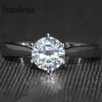 تألق 3 ملليمتر transgems F-G-H واسعة جديدة أنيقة الصلبة 14 كيلو 585 الذهب الأبيض 1 قيراط قيراط المشاركة مويسانيتي خاتم الماس