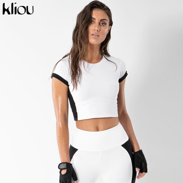 5f828a45aa03 Kliou women fitness 2 pieces sets black white patchwork Active Wear short  sleeve top sporting elastic high waist leggings sets