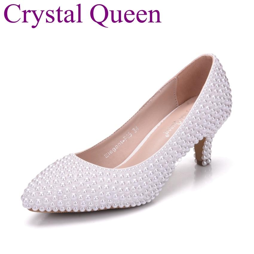 Crystal Queen Pearls Pumps Wedding Shoes Full Pearls Bride