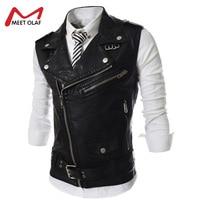 Pu Leather Vest Mens Motorcycle Vest Belted PU Biker Sleeveless Jackets Fashion Lapel Waistcoat Multi Zip
