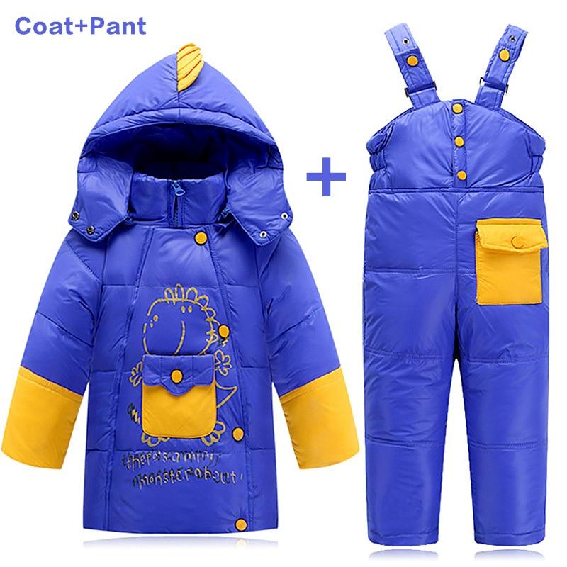 Kids Clothes Baby Winter Down Coat Children Warm Jackets Dinosaure Toddler Snowsuit Outerwear Coat+Pant Clothing Set