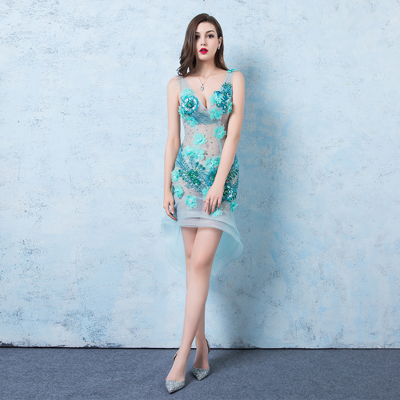 Women s Sexy Dress V neck Sleeveless Flower Applique Irregular Dress Slim Mesh Perspective Sexy Stacked