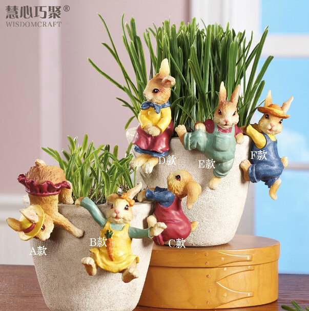 Exclusive produced creative small ornaments creative gifts cute little rabbit resin garden pots hanging ornaments
