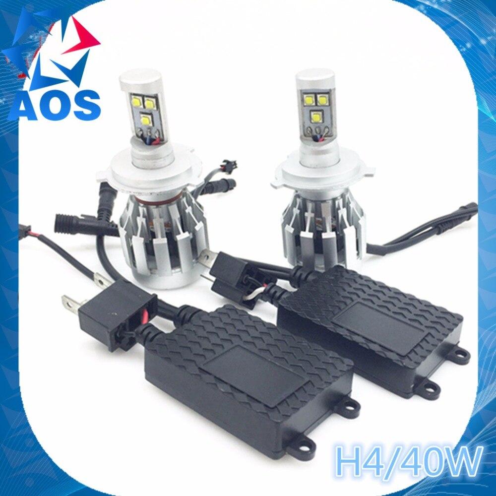 2PCs/set 40W LED Car Headlight bulb H4 Hi Lo All-in-one replacement headlamp ETI LED BULB fog headlamp
