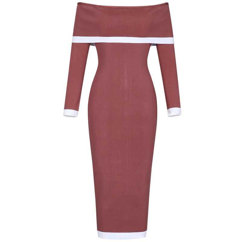 Ocstrade 2019 חדש שיק נשים חום המפלגה סקסי כבוי כתף תחבושת שמלה ארוכה שרוול Bodycon שמלת זהורית באיכות גבוהה