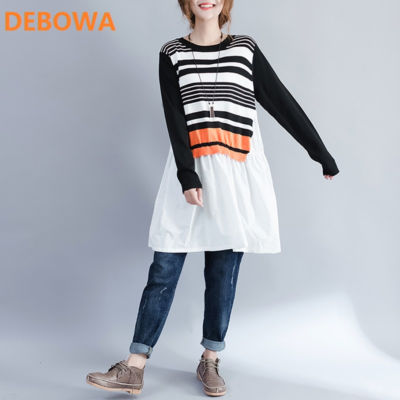 Debowa 2017 Autumn Winter New Fashion Women Patchwork Knitted Sweater Dress Large Size Casual Loose Cotton Stripe Dress Femme new 2017 hats for women mix color cotton unisex men winter women fashion hip hop knitted warm hat female beanies cap6a03