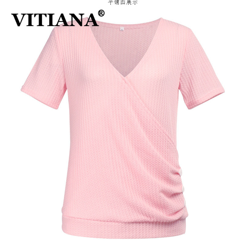 VITIANA Women Casual T-Shirt Summer Female 2019 Short Sleeve V-Neck Buttons Elegant Tees Ladies Solid Black Streetwear Tops
