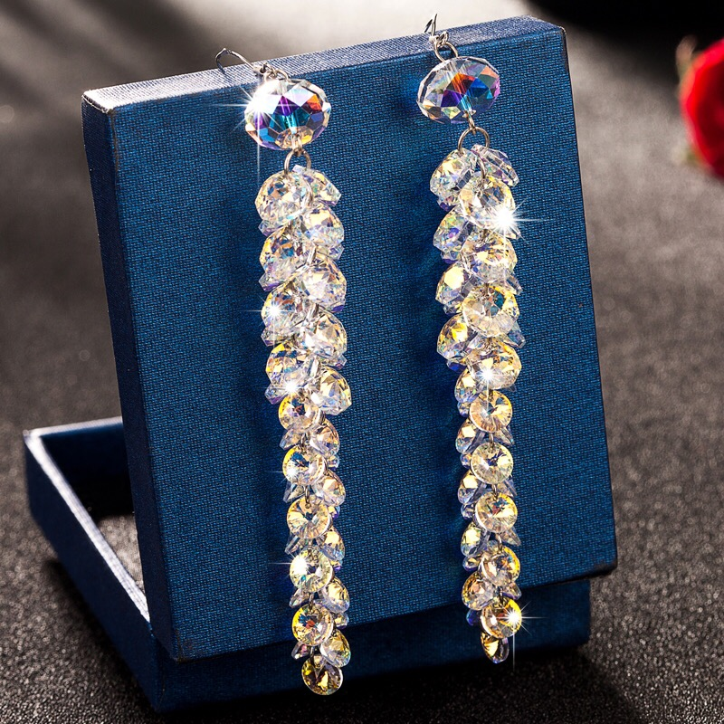 New Arrivals luxury Crystal Dangle Earrings High Quality Glass Crystal Handmade Long Drop Earrings Wedding Jewelry For Brides