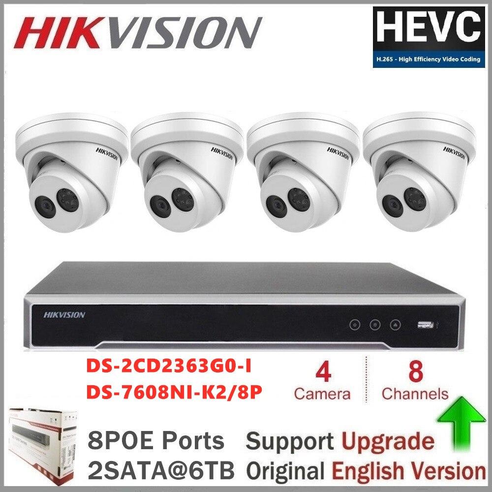 Hikvision PoE Kits de caméra IP 6MP IR fixe tourelle réseau caméra de sécurité CCTV vision nocturne vidéo Surveillance DS-2CD2363G0-I