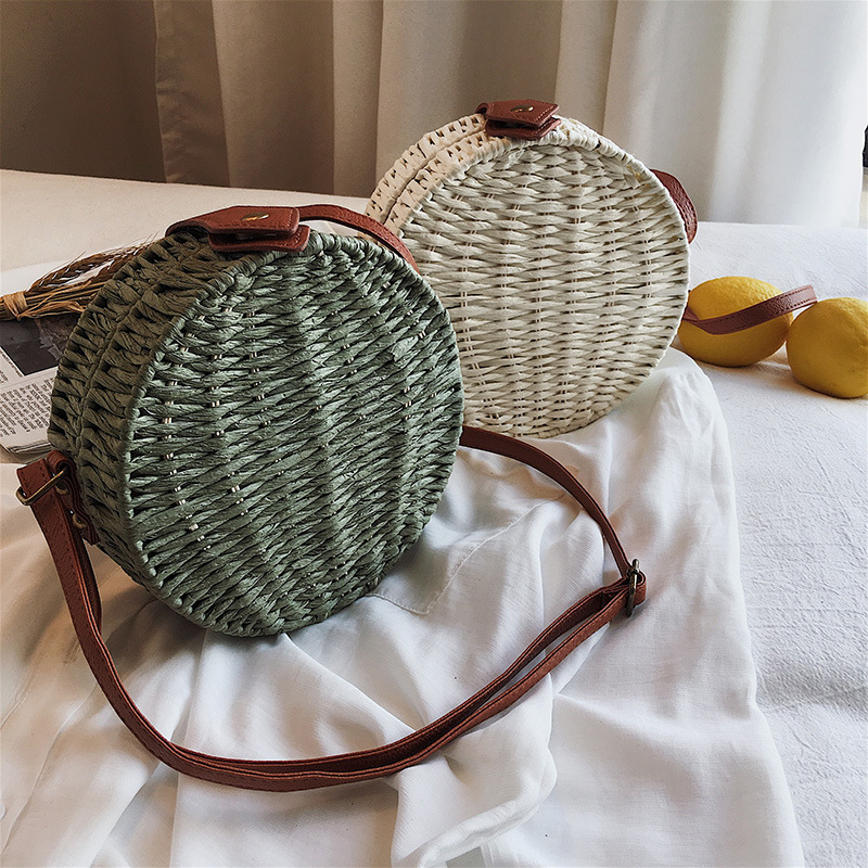 Female Straw Beach Bag Crossbody Bags For Women 2019 Summer Wicker Designer Handbag Ladies Rattan Flowers Shoulder Messenger Bag in Shoulder Bags from Luggage Bags