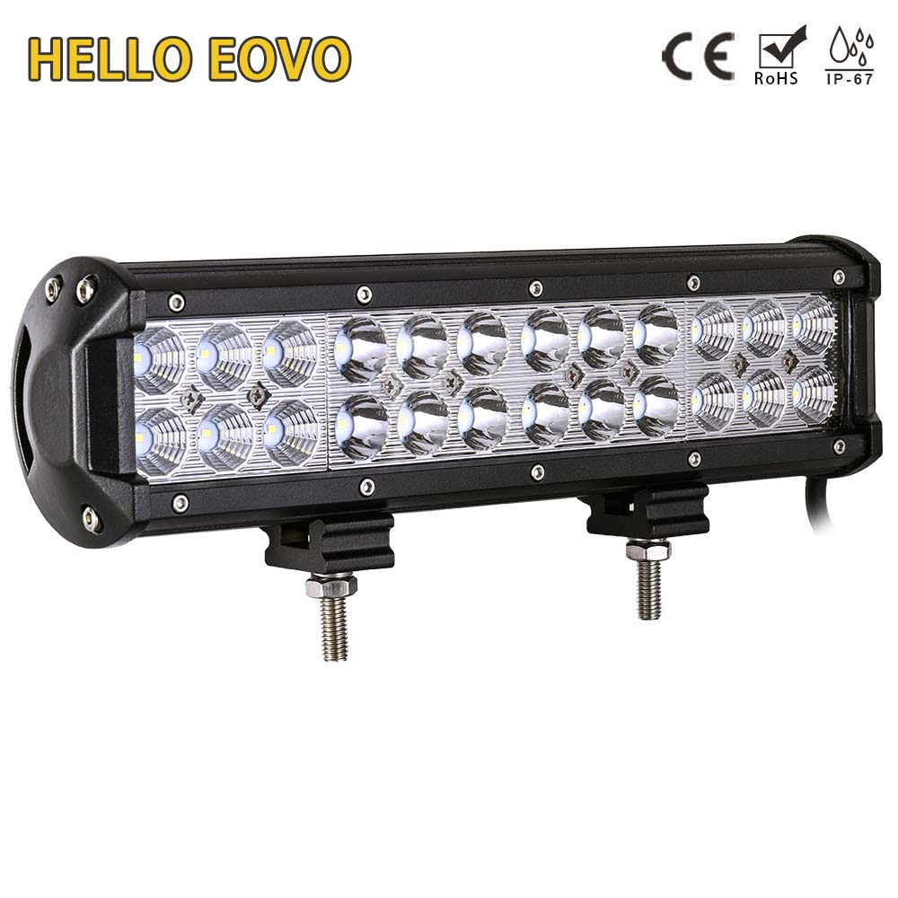 HELLO EOVO 12 Inch 72W LED Work Light Bar for Indicators Motorcycle Driving Offroad Boat Car Tractor Truck 4x4 SUV ATV 12V new light sourcing 17 inch 72w light bar with screws for wrangler offroad suv atv boat truck