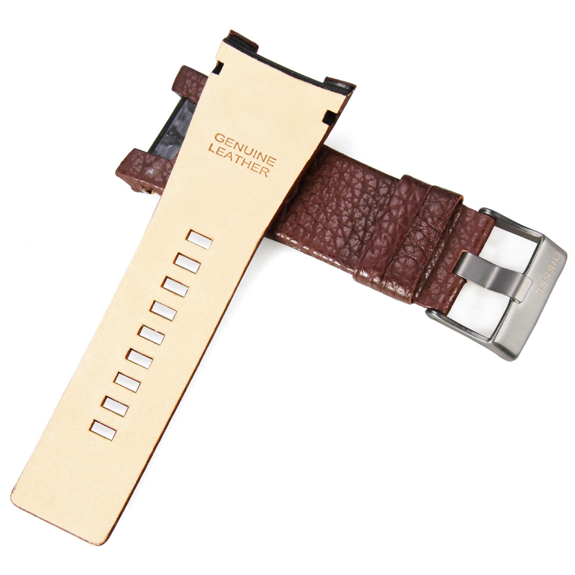 Correa de cuero de 32mm litchi grano correa de reloj de cuero genuino negro-marrón resistente al agua adecuado para reloj diésel