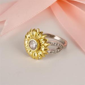 Image 3 - Женское кольцо с подсолнухом DALARAN, кольцо из серебра 925 пробы с блестящим цирконием, украшения на свадьбу и годовщину