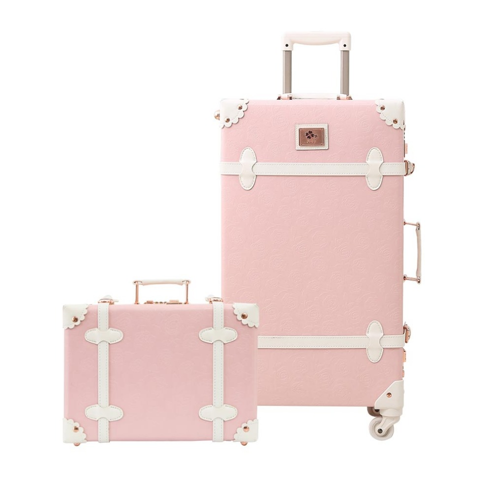 Luggae Girl Cute Trolley Suitcase Sets Retro PU Trunk Rolling Spinner Luggage Set trunk 3D print Free shipping