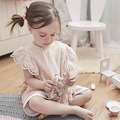 Baby Girl Summer Sweet Pink Blouses Ruffles&lace Clothes Cotton&linen Casual Clothings