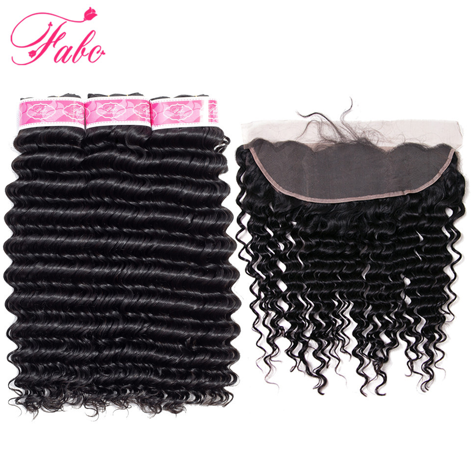 Fabc Hair peruvian deep wave bundles with frontal closure non remy human hair 3 bundles with lace frontal closure13*4 ear to ear