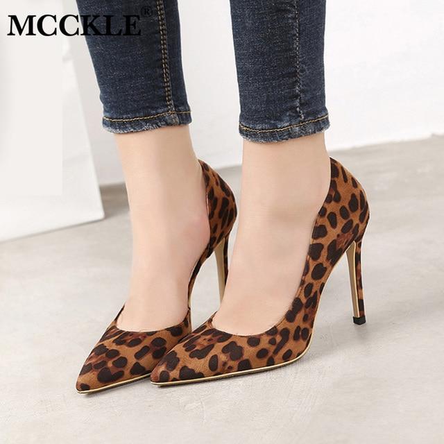 37e014bb1d MCCKLE Sexy Leopardo Bombas de Salto Alto Mulheres Apontou Toe Sapatos de  Casamento Festa de Senhoras