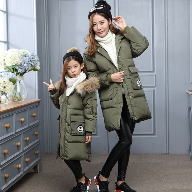 2016 Winter Clothes Family Matching Outfits Thick Warm Mother Daughter Long Jacket Duck Down Hooded Coat Family Look TZ124
