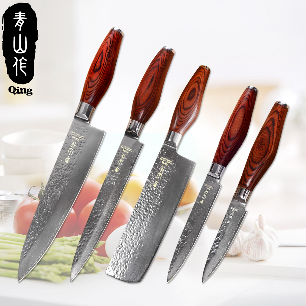 red kitchen knives qing vg10 damascus kitchen knives chef slicing chopping utility paring knife red color wood 4265