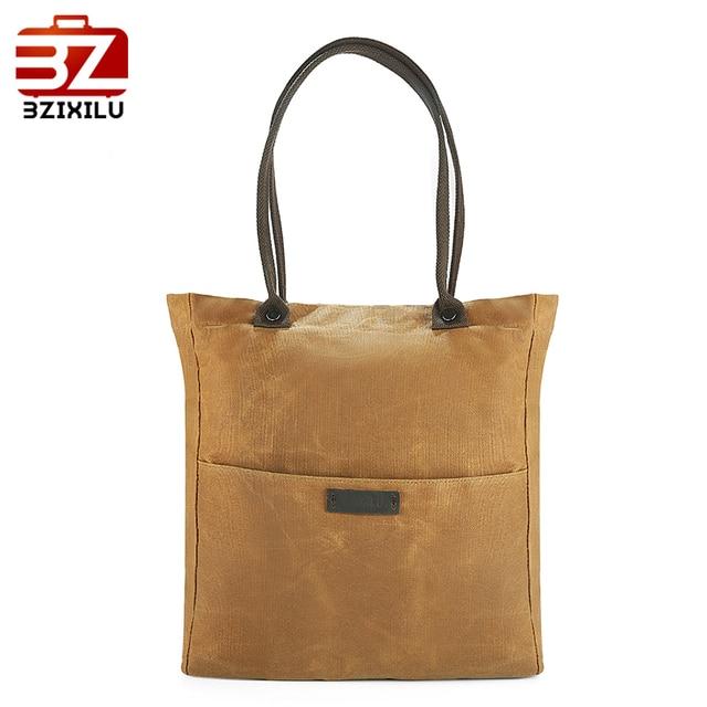 3cdcad7c14 BZIXILU Oil Waxed Canvas tote bag Women Shoulder Waterproof Handbags Casual  Retro travel Shopping Messenger Bags for Men