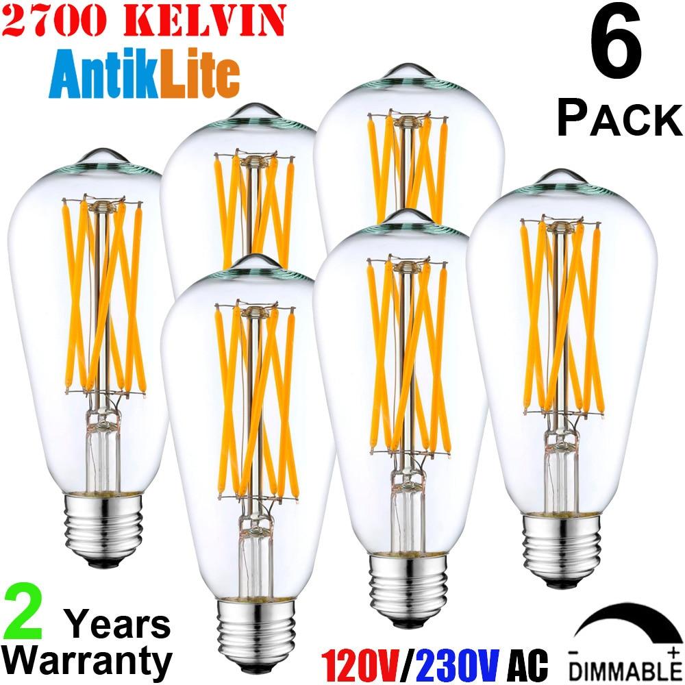 E26 E27 Retro LED Bulb 2200K 2700K Vintage Warm White 110V 220V Dimmable LED Long Filament Teardrop Edison Light Bulb ST64 6W 8W