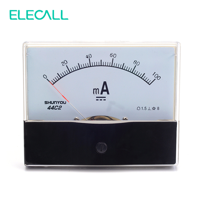 ELECALL 44C2 100mA Ammeter Analog Current Test Meter DC Mechanical Header Ammeter