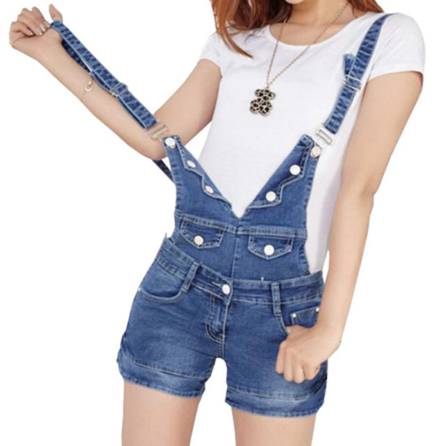 bccff8657f 2018 Summer Short Denim Jumpsuit Women Casual Jeans Romper Playsuits Fashion  Bandage Dungarees Overalls Shorts For