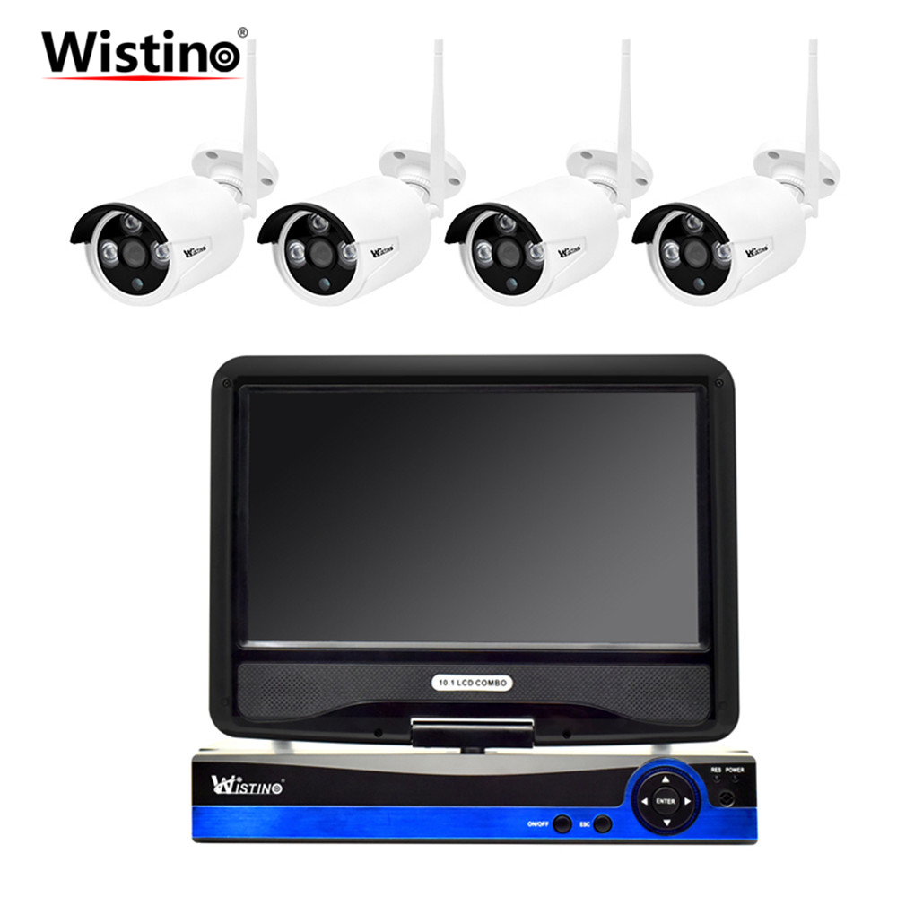 Wistino Security WIFI Kit HD 1080P CCTV Camera System NVR IP Cameras Outdoor Surveillance Video Monitor Wireless LCD Screen P2P