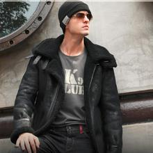 VANLED Sheep wool sheared fur leather clothing warm jacket men's winter coat.plus