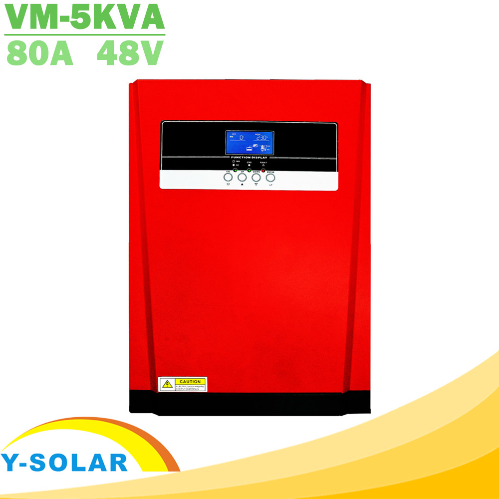5000W Pure Sine Wave Solar Hybrid Inverter MPPT 80A Solar Panel Charger and AC Charger All in One 230VAC Solar Charge ControllerSolar Inverters   -